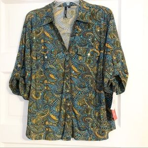 Cathy Daniels NWT Paisley Print 3/4 Sleeve Blouse